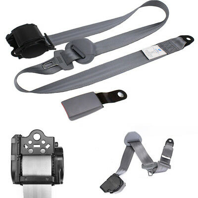 1X Auto Car 3Point Safety Seat Lap Belt Set Retractable Grey Curved Rigid Buckle