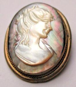 Ordonné Broche Ancienne Camée Nacre Sculptée Xixe Portrait De Femme A L'antique 5072