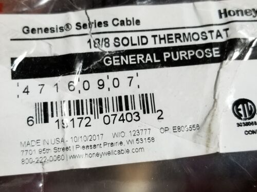 Honeywell Genesis 4716 18//8C 18awg 8 Conductor Solid Thermostat Cable Brown//50ft