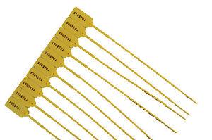 50 X Plastique Jaune Sécurité étiquettes Numéré Cordons Anti-sabotage Joints