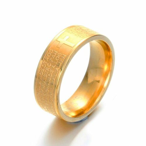 Stainless Steel Two Tone Our Father Lord/'s Bible Prayer Men Ring Gold Silver 8MM