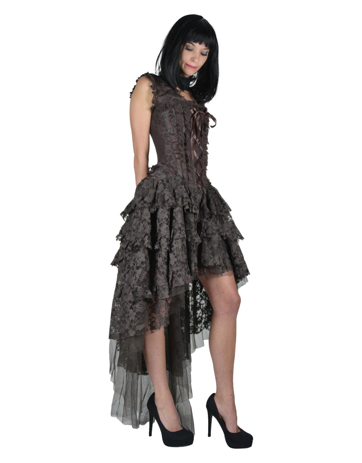 BURLESKA GOTHIC OPHELIE VAMPIRE WEDDING PROM PROM PROM VINTAGE BROWN BROCADE CORSET DRESS 829637