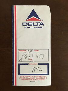 Vintage Delta Air Lines Boarding Ticket Jacket Sleeve Great