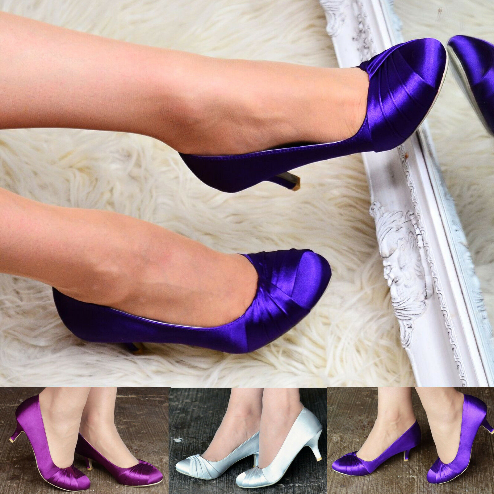 Ladies Satin Evening Bridal Shoes Classic Fashion Evening Satin Low Mid Kitten Heel Court Pump fe3959