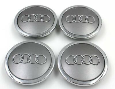 4x Grey Chrome Wheel Center Hub Cap Emblem Badge Logo 69mm For AUDI 4B0601170A