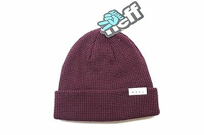 New NEFF Mens Peg Waffle Knit Fold Beanie Port Maroon One Size OSFM Cotton  BW1 974ebc92b193