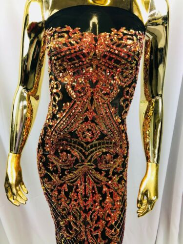 NEW Iridescent Orange Damask 4Way Stretch Mesh Lace Sequin Fabric Gown-Prom BTY