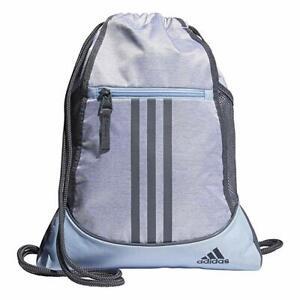 NWT Adidas Alliance II Sackpack Sling Backpack Grey/Glow Blue FREE ...