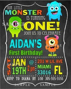 Image Is Loading Little Monster Birthday Invitation Digital