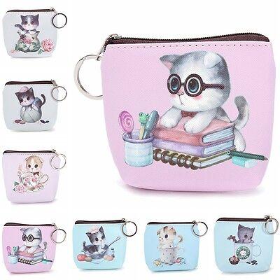 Cute Cat Face Zipper Case Mini Pocket Coin Purse Cartoon Key Wallet Bag Pouch