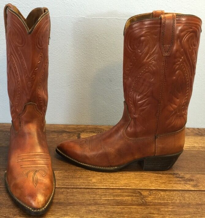 Acme Circle A Double H Western Cowboy Boots Uomo 9 Brown Leather Made in USA