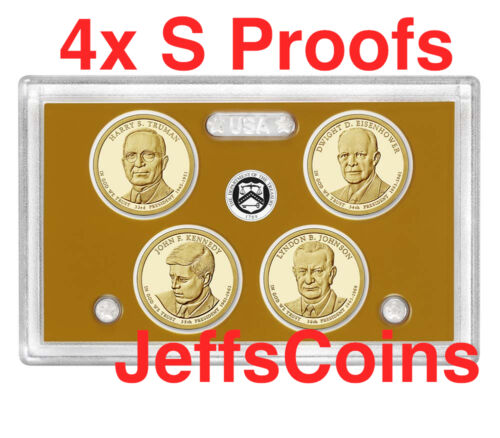 2015 S Presidential Dollars PROOF 4 Coin Mint Set Truman Eisenhower Kennedy LBJ