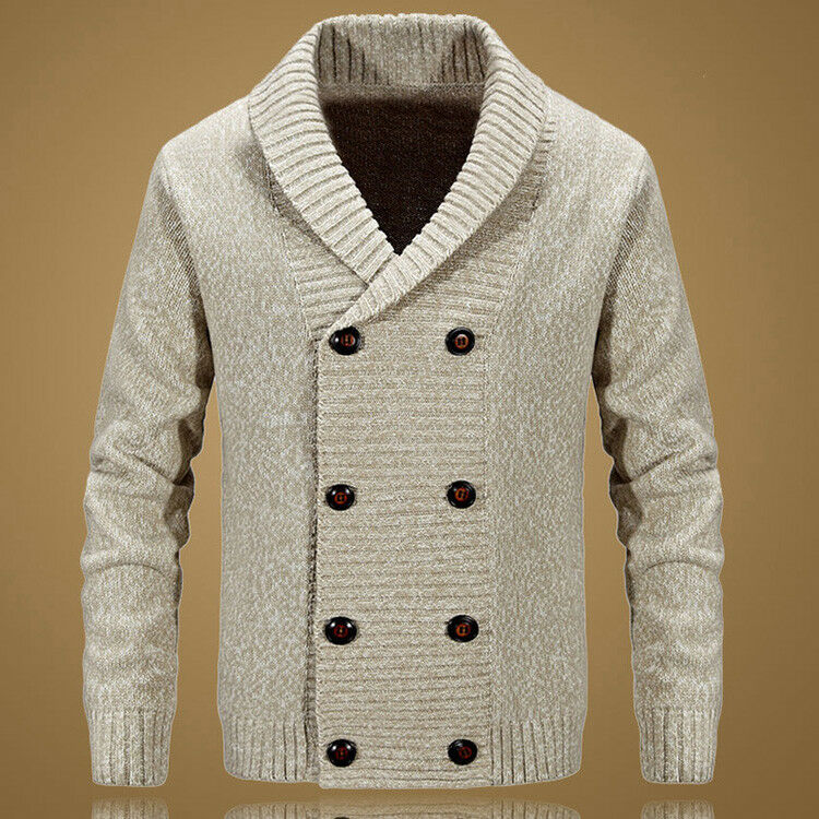Casual Mens Wool Blend Sweaters Cardigan Double-Breasted Loose Knit Warm Coats