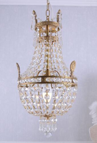 Korblüster Kristall Kronleuchter Messing Gold Deckenlampe Maria Theresia Empire