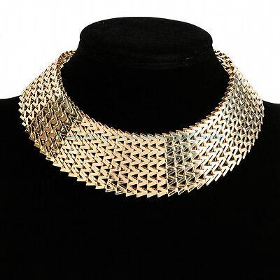 Hot Fashion Jewelry Chunky Statement Gold Chain Charm Choker Bib Necklace