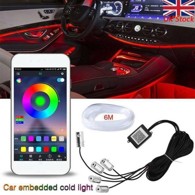RGB LED EL Interior Neon Strip Light Trim Car bluetooth Control APP Universal 6M