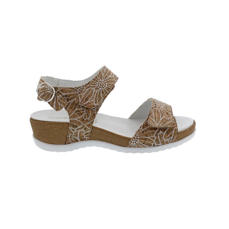 Rôdeur Hilda, sandale, Liège-Fleur, Blanc (Marron (Marron (Marron Combi.), klettver., Largeur H 44371d