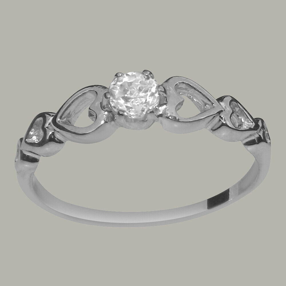 Solid 18k White gold Cubic Zirconia Womens Solitaire Ring - Sizes 4 to 12