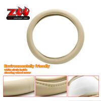 Steering Wheel Cover 14.5-15 Beige Pu Leather Memory Foam Grip Wrap