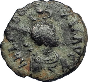 EUDOXIA-Arcadius-Wife-401AD-Authentic-Ancient-Roman-Coin-VICTORY-CHI-RHO-i67745