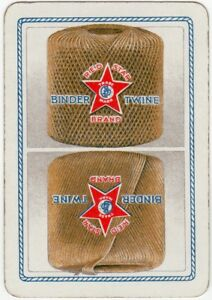 Playing-Cards-Single-Card-Old-Wide-RED-STAR-BINDER-TWINE-Farm-String-Advertising