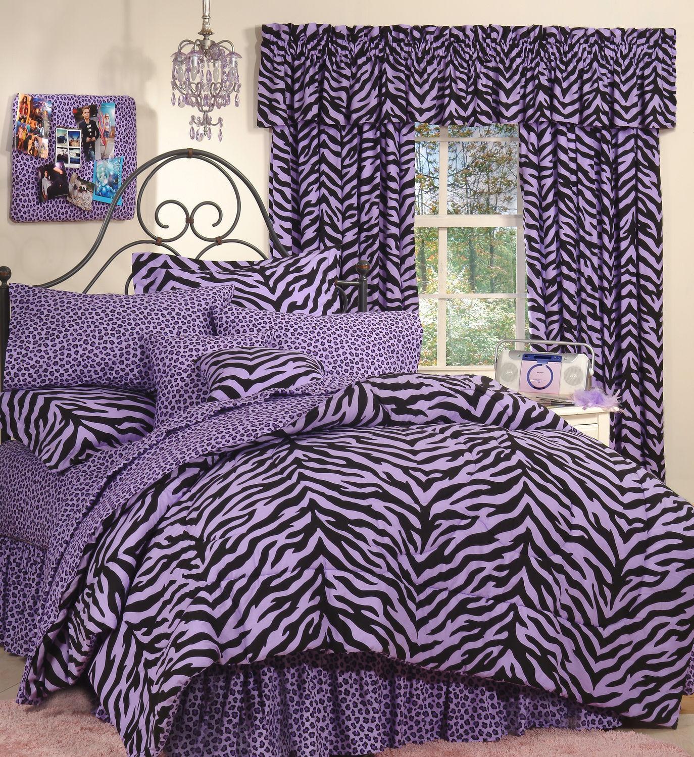 lila Zebra Leopard - Safari Print  6 Pc EXTRA LONG TWIN Comforter Bedding Set