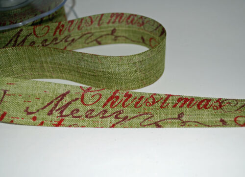 25mm Wide ** ** VINTAGE CHRISTMAS RIBBON MOSS GREEN Ribbon