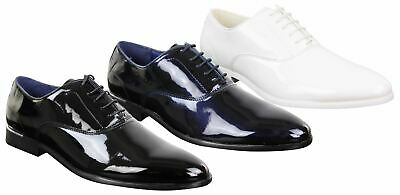 Mens Laced Shoes Shiny Patent Italian Design Silver Metal Classic Smart Formal