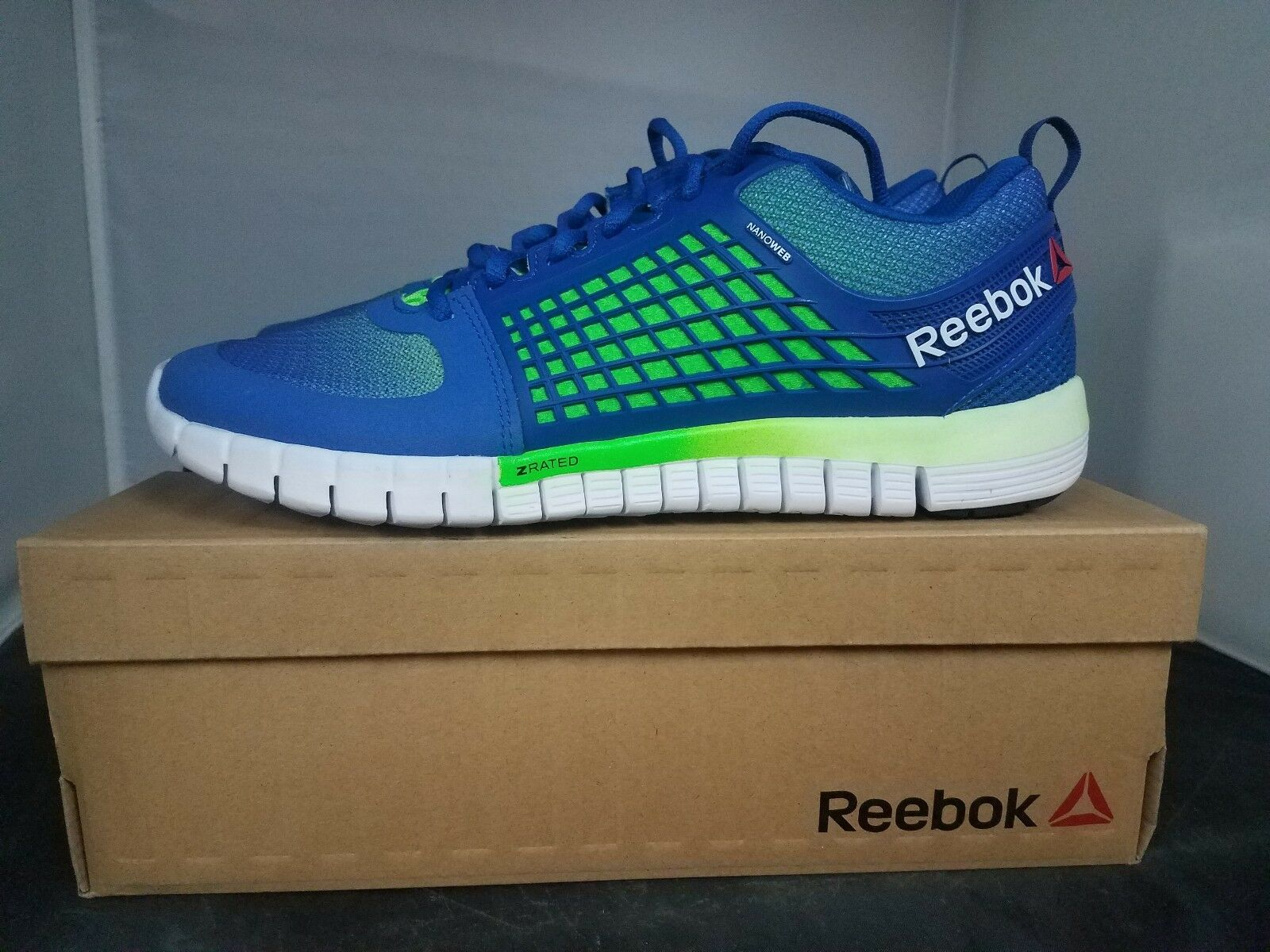 REEBOK ZQUICK ELECTRIFY Mens Running shoes bluee Green Black White - NEW