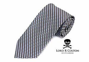$95 Retail New Navy /& Pearl Stripe Woven Necktie Lord R Colton Studio Tie