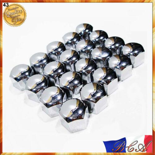 20x CHROME CACHES BOULON ECROUS VIS ROUE VOITURE JANTES UNIVERSEL 17mm