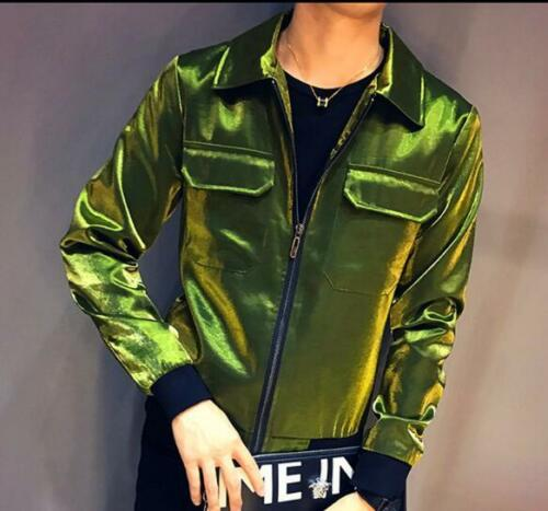 Fashion Mens Bling Suede Button Slim Lapel collar Casual Cardigan Coats M-3XL P1