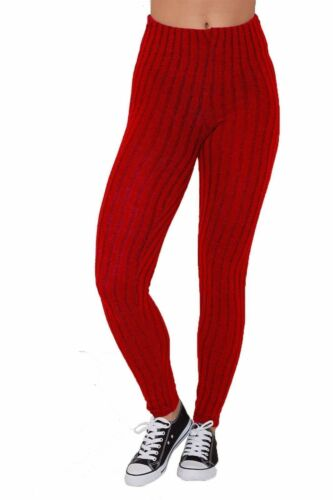 New Women/'s Ladies Warm Plain Thick Chunky Cable Ladies Ribbed Knitted Leggings