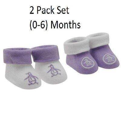 2 Paquete Original Penguin Bebé Infantes Algodón Calcetines Botines Suave (0-6 meses)