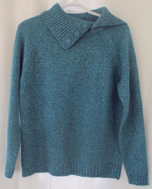 Karen Scott Sweater Womens S Small Marled Teal Shawl Collar Macys