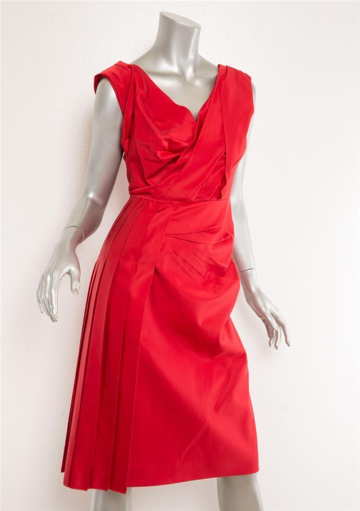 Prada Damen Rot Plissiert Verdreht Vorne V-Ausschnitt Ärmellos Cocktailkleid