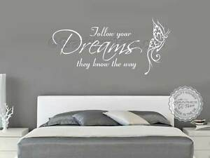 Family Wall Sticker Inspirational Quote Follow Your Dreams Bedroom