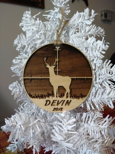 With Gift Box Gift for Dad Personalized Deer Scope Christmas Ornament