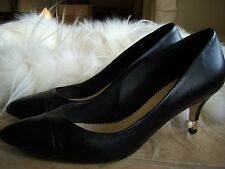 Authentic Chanel Leather Classics Pump Shoes Size 37