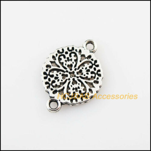 60Pcs Tibetan Silver Tone Round Flower Heart Charms Connectors 13x18mm