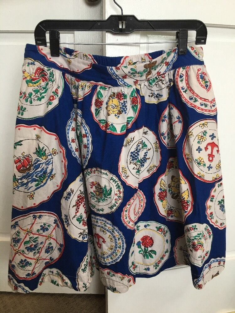 Rare Boden Plates Print Royal bluee Skirt 8 US Flawless