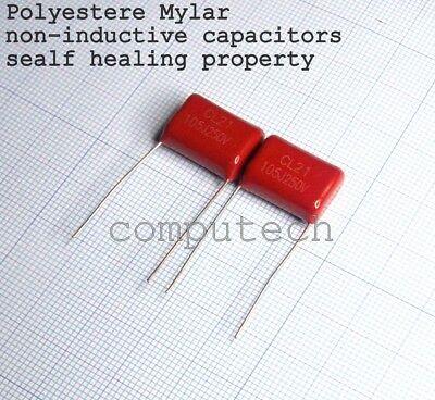 2 pezzi Condensatore 100nF 250V 5/% non induttivo Mylar Poliestere 0,1uF 250V