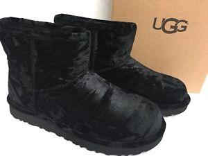 fa215709db0 Details about UGG Australia Crushed Velvet Classic Mini Boot Black 1090871  Women's Sheepskin
