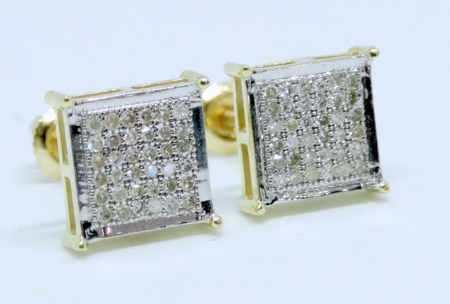 948381bb7 10K Yellow Gold Diamond Studs Concave Kite Pave Mens Ladies Earrings 0.25 Ct