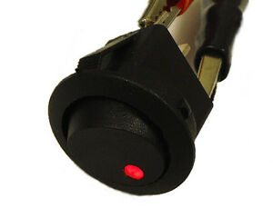 round rocker switch 12v with red led light dot car auto rv boat