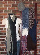 Women's Winter Scarf Lot - Lot of 7  Scarves & 1 Hat Long Scarves & Infinity