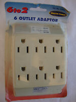 2 To 6 Electra Power Outlet Adaptor 13407 White Adapter Wall Plate 125v 15a 1875