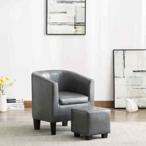 vidaXL Sillón con diseño de cubo con reposapiés cuero sintético gris