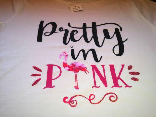 TSHIRT Ladies t-shirt Size 10-20 Pretty Pink Flamingo Hot Fix Custom Rhinestone