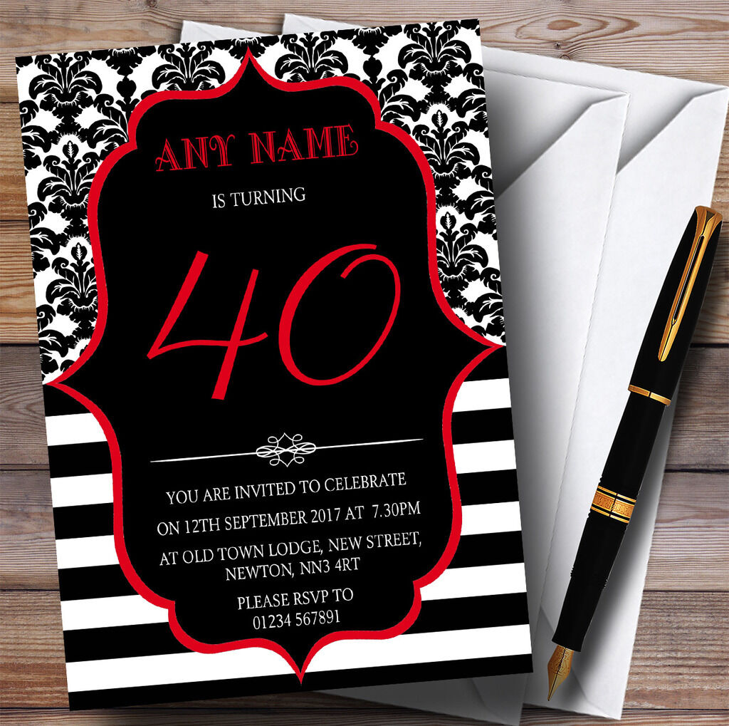Vintage Damask ROT 40th Personalised Invitations Birthday Party 6472f2